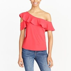 J.Crew One Sleeve Off The Shoulder Top Size M